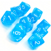 Light Blue & White Cirrus D10 Ten Sided Dice Set